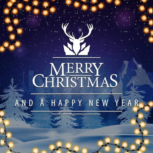 Cartolina quadrata di buon natale e felice anno nuovo con nevicate sullo sfondo Vettore Premium