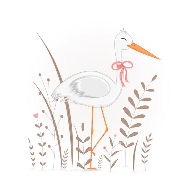 Cartolina regalo con cicogna animali cartoon. Vettore Premium