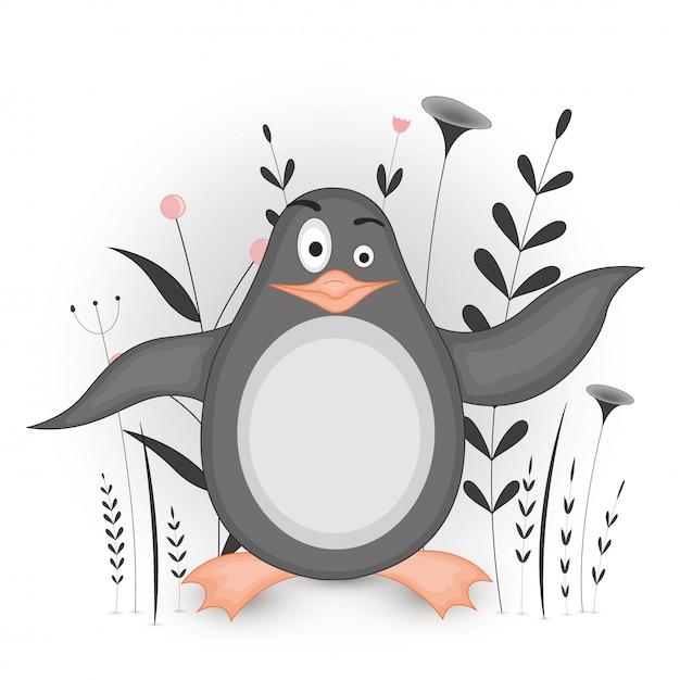Cartolina regalo con pinguino di animali dei cartoni animati. sfondo floreale decorativo con rami e piante. Vettore Premium