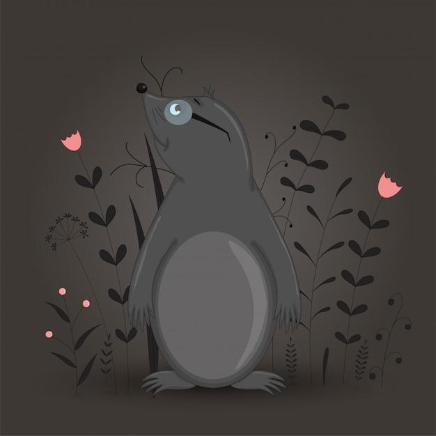 Cartolina regalo con talpa animale dei cartoni animati scaricare