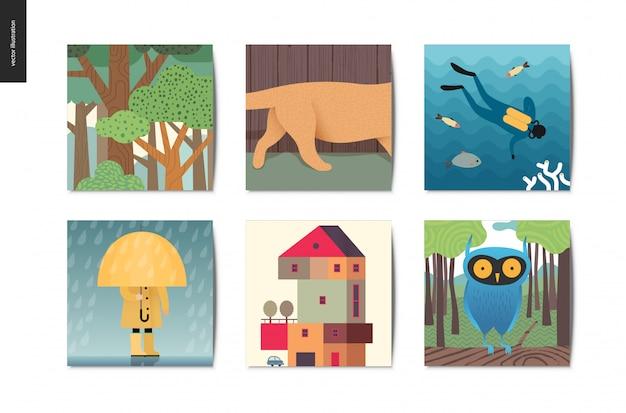 Cartoline semplici Vettore Premium
