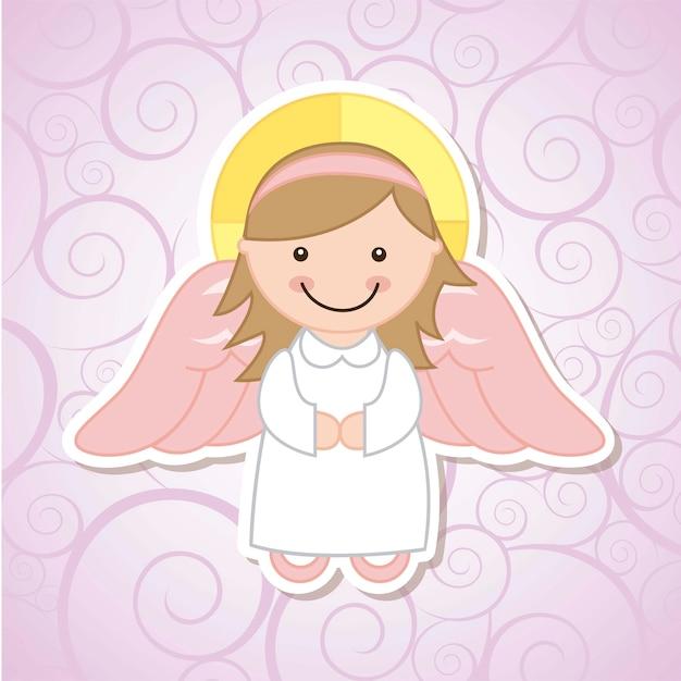 Cartone animato angelo su sfondo viola illustrazione vettoriale Vettore Premium