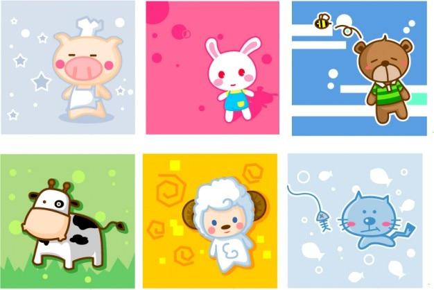 Cartone animato animale birhtday carte vector set