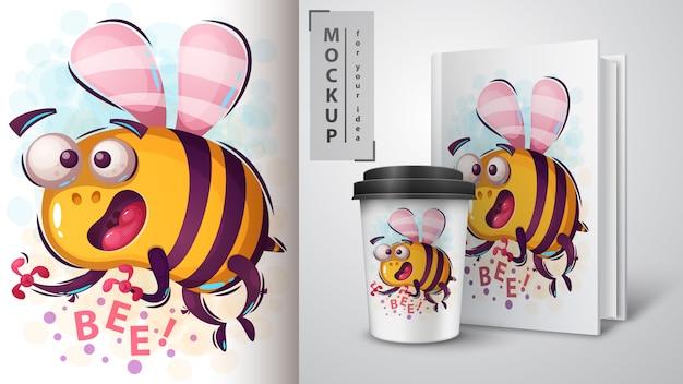Cartone animato ape poster e merchandising Vettore Premium