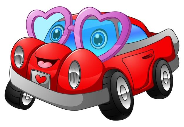 Cartone animato auto innamorata scaricare vettori premium