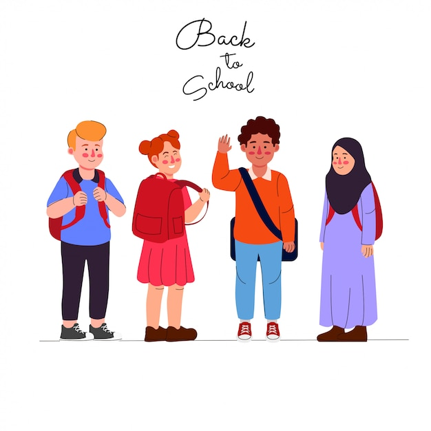 Cartone animato bambini torna a scuola Vettore Premium