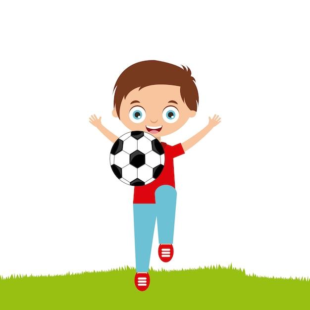 Cartone animato bambino felice che gioca con il pallone da