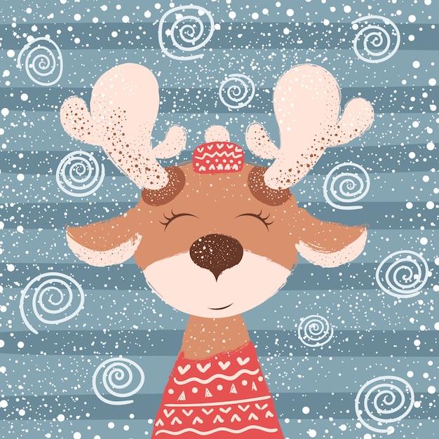 Cartone animato buffo cervo. illustrazione invernale Vettore Premium
