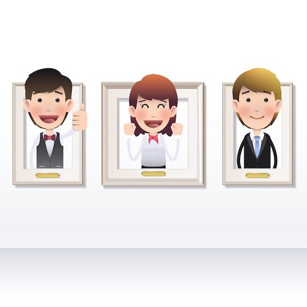 Cartone Animato Businessman Moderna Cornice Entrare Scaricare
