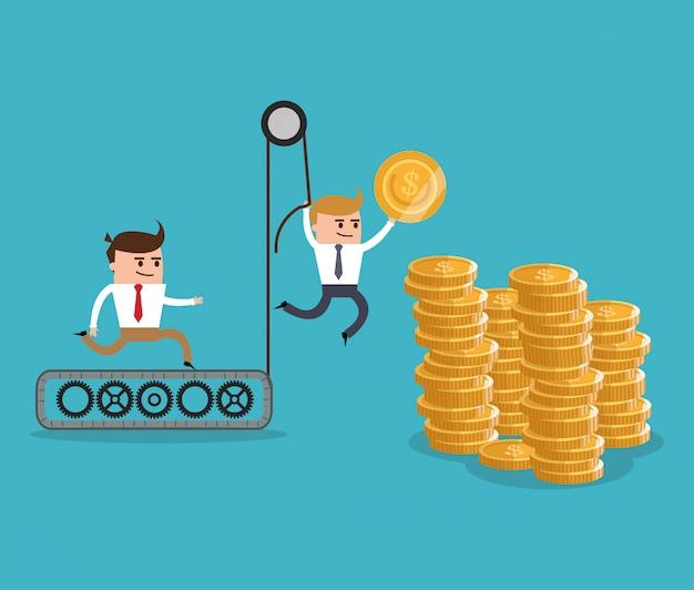 Cartone animato businnesman e oggetto finanziario Vettore Premium