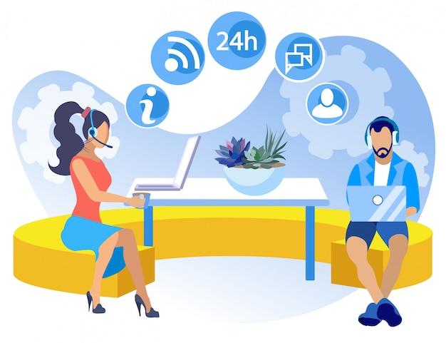 Cartone animato call center coworking informativo volantino. Vettore Premium