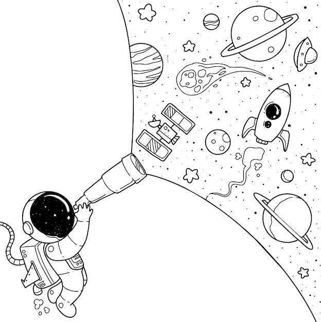 Cartone animato carino astronauta Vettore Premium