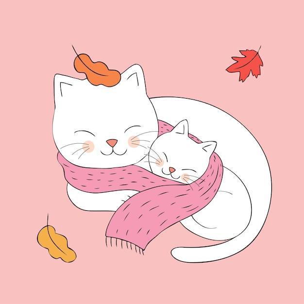 Cartone animato carino autunno mamma e baby cat dorme Vettore Premium