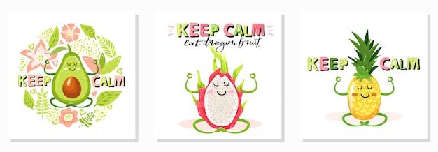 Cartone animato carino avocado Vettore Premium