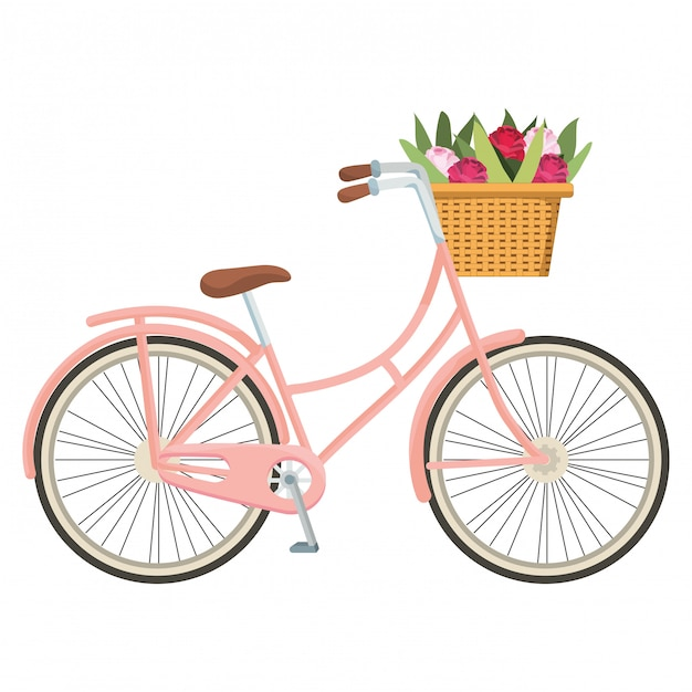 Cartone animato carino bicicletta Vettore Premium