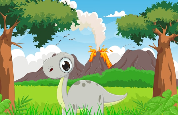 Cartone animato carino dinosauro con lo sfondo preistorico