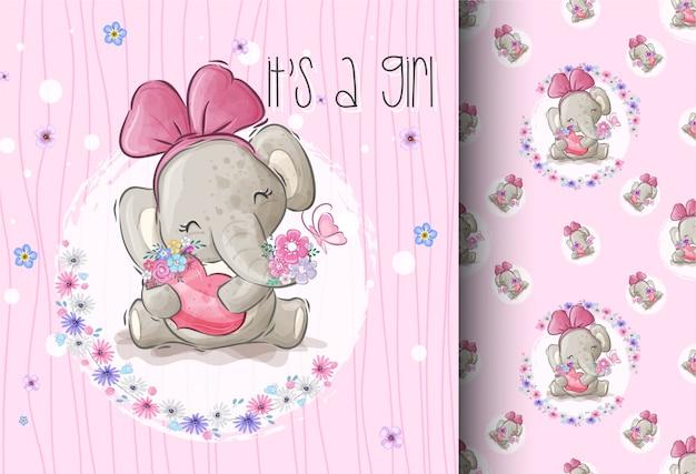 Cartone animato carino elefante con amante fiore seamless pattern Vettore Premium