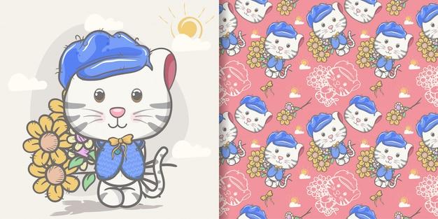 Cartone animato carino gatto con set di pattern Vettore Premium