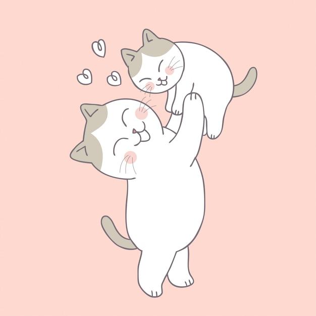 Cartone animato carino gatto mamma e bambino Vettore Premium