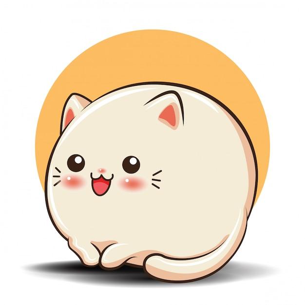 Cartone animato carino gatto Vettore Premium