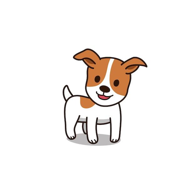 Cartone animato carino jack russell terrier cane Vettore Premium
