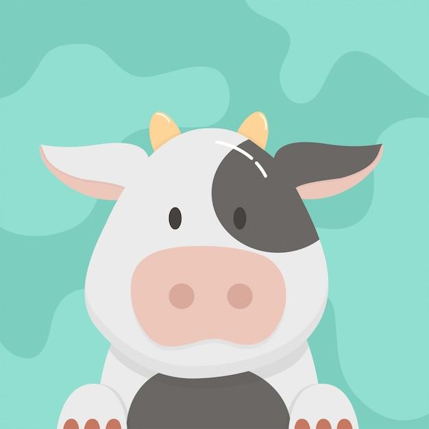 Cartone animato carino mucca Vettore Premium