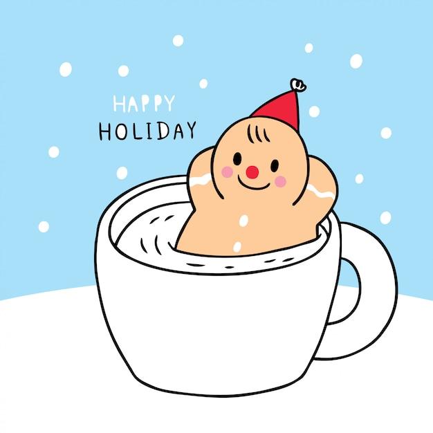 Cartone animato carino natale allo zenzero pane e tazza di caffè. Vettore Premium