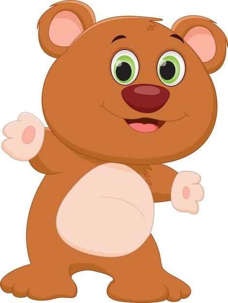 Cartone animato carino orso bruno scaricare vettori premium