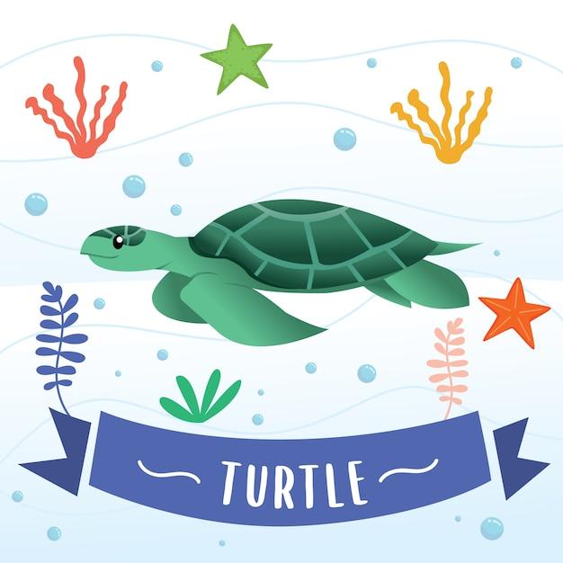 Cartone animato carino tartaruga marina Vettore Premium