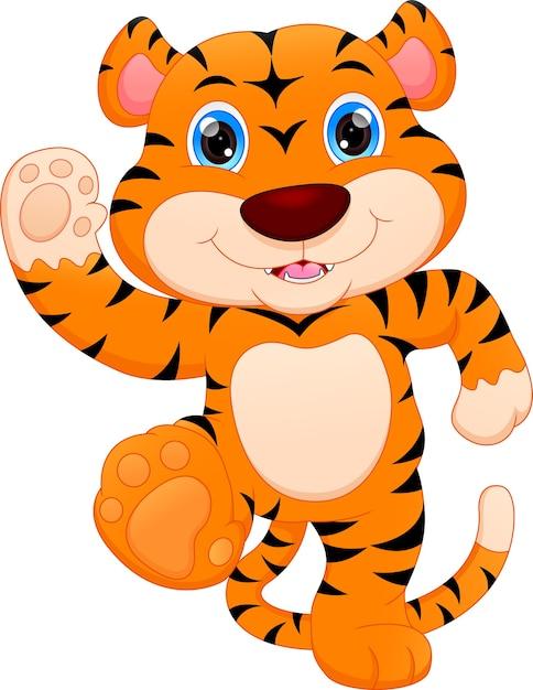 Cartone animato carino tigre del bambino Vettore Premium