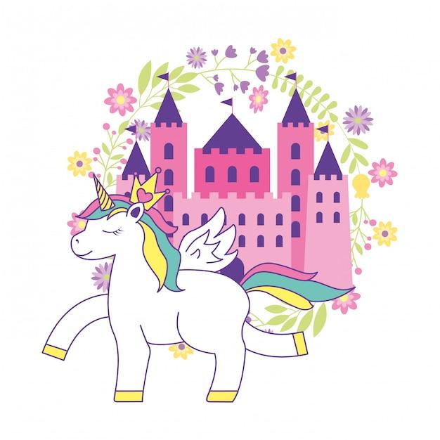 Cartone animato carino unicorno con castello Vettore Premium