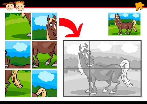 Cartone animato cavallo gioco di puzzle scaricare