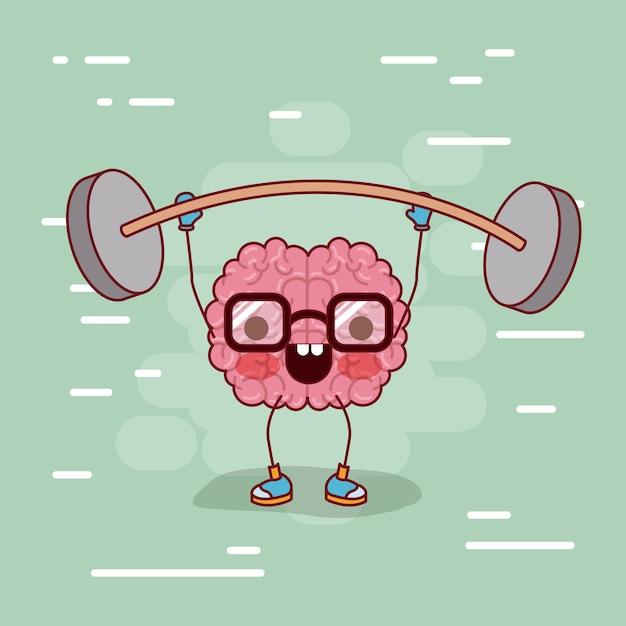 Cartone animato cervello con occhiali e sollevamento pesi