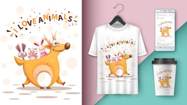Cartone animato cervo, coniglio, gatto Vettore Premium