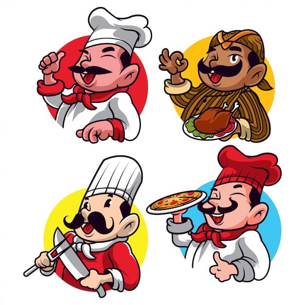 Cartone animato chef Vettore Premium