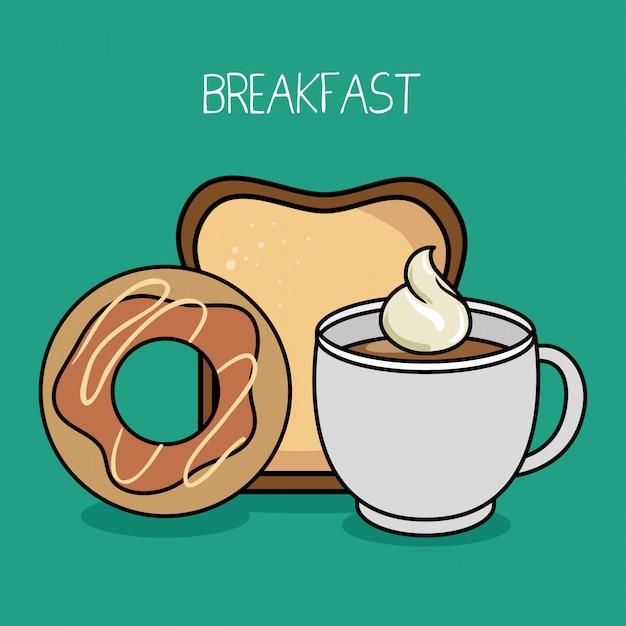 Cartone animato colazione ciambella pane caffè Vettore gratuito