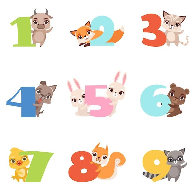 Cartone animato con numeri colorati da 1 a 9 e animali. Vettore Premium