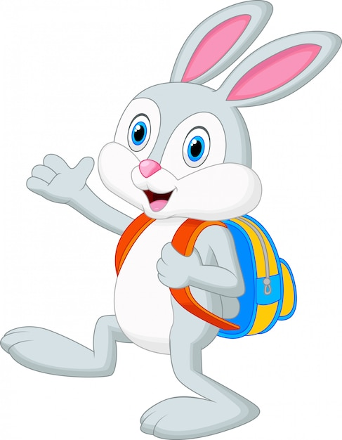 Cartone animato coniglio con lo zaino scaricare vettori