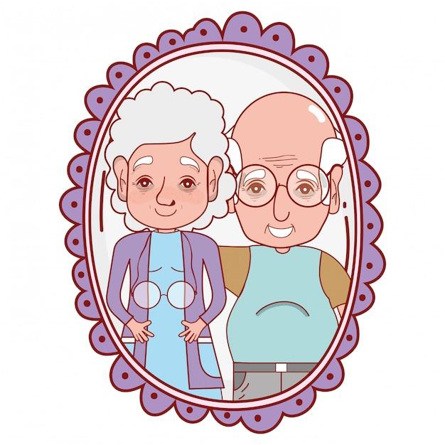 Cartone animato coppia carino nonni Vettore Premium