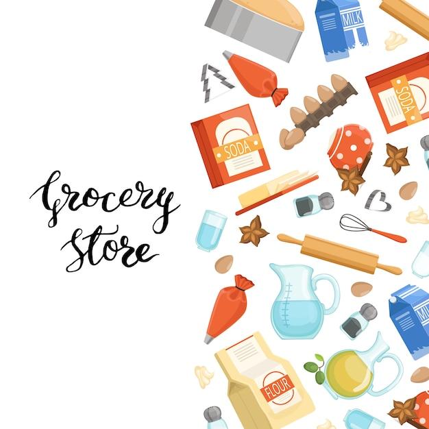 Cartone animato cucina ingridients o generi alimentari con lettering. poster assortimento di soda e drogheria nutriente Vettore Premium