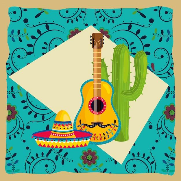 Cartone animato cultura messicana Vettore Premium