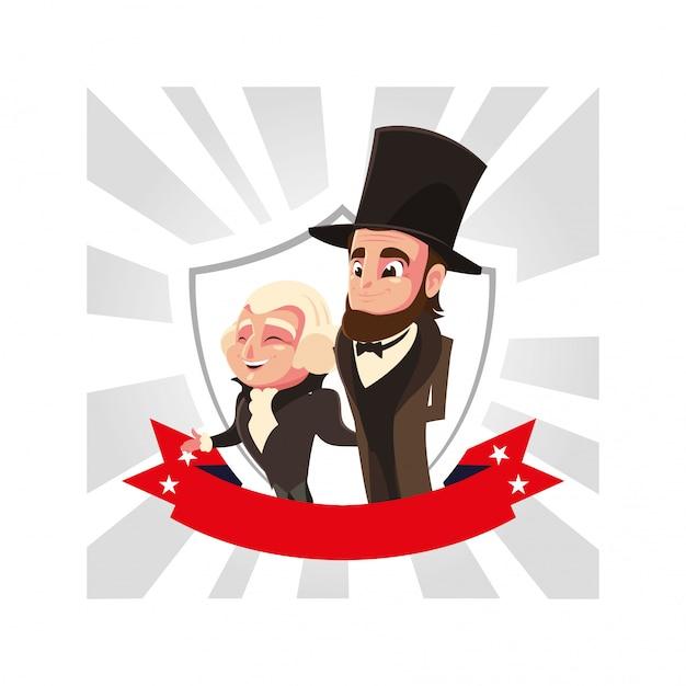 Cartone animato dei presidenti george washington e abraham lincoln, president day Vettore Premium