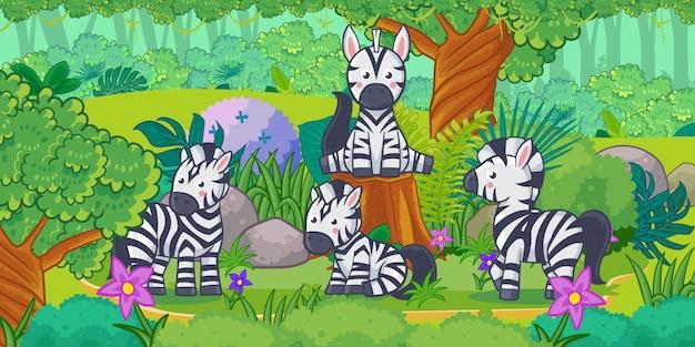 Cartone animato del bellissimo paesaggio con zebra Vettore Premium