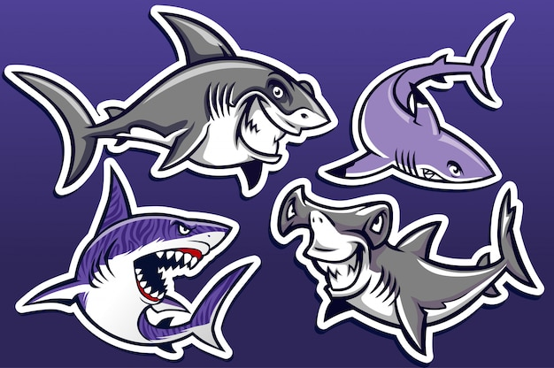 Cartone animato del pacchetto di raccolta degli squali Vettore Premium