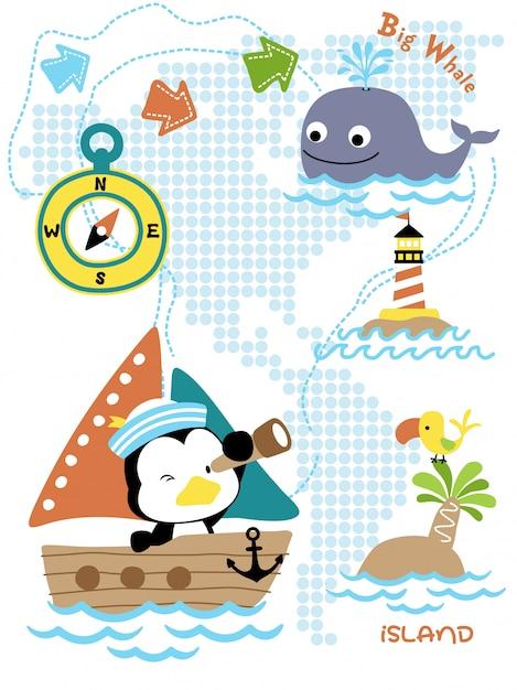 Cartone animato del viaggio a vela con divertente marinaio Vettore Premium