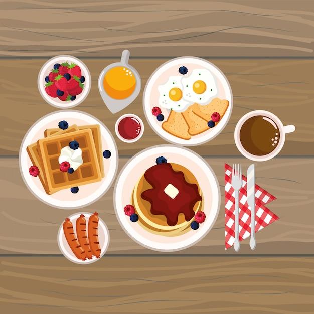 Cartone animato deliziosa colazione gustosa Vettore Premium