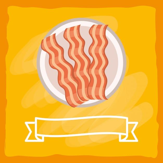 Cartone animato delizioso gustoso bacon Vettore Premium