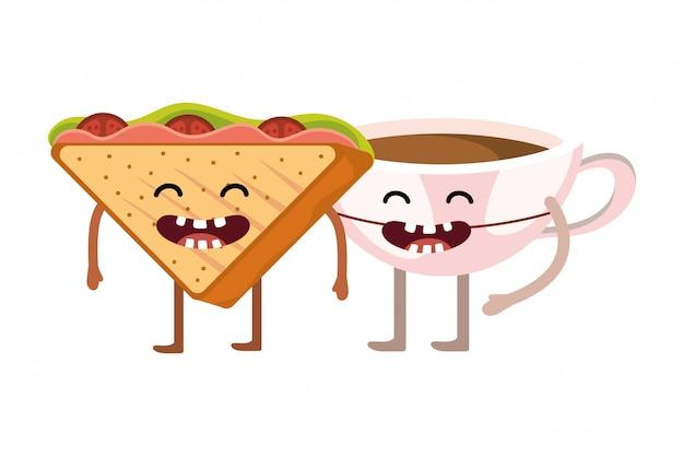Cartone animato delizioso panino gustoso Vettore Premium