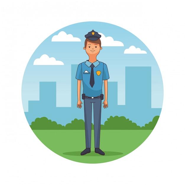Cartone animato della polizia Vettore Premium
