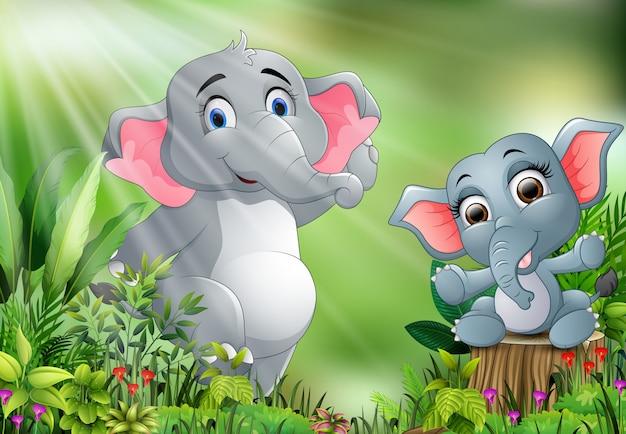 Cartone animato della scena della natura con elefanti che giocano